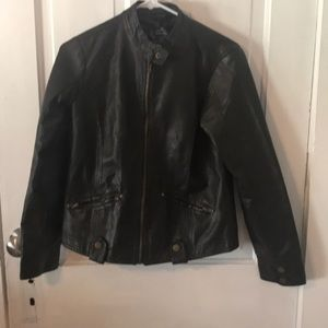 Brown faux leather jacket. Size Small